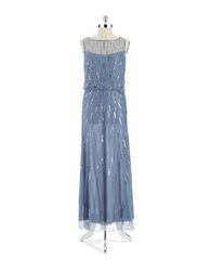 J Kara Beaded And Sequin Gown Dusty Blue