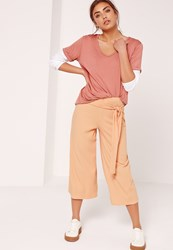 Missguided Ribbed Tie Waist Culottes Nude Peach