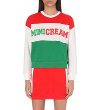 Mini Cream Branded Colour Block Cotton Jersey Sweatshirt Red