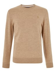 Ralph Lauren Polo Golf By Long Sleeve Crew Neck Jumper Warm Brown Heather