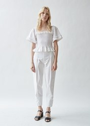 Molly Goddard Archie Tapered Cotton Trousers White