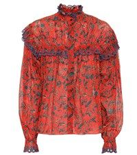 Etoile Isabel Marant Printed Cotton Blouse Red