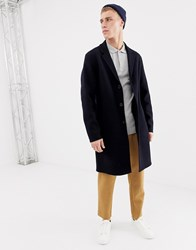 Selected Homme Hand Stitched Wool Overcoat Dark Navy