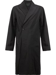 08Sircus Peaked Lapel Midi Coat Black