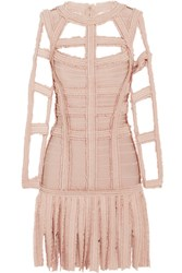 Herve Leger Silk Trimmed Fringed Cutout Bandage Dress Blush