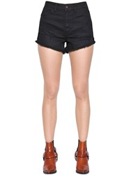Just Cavalli Destroyed Cotton Denim Shorts
