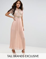 Frock And Frill Tall Premium Embellished Top Maxi Dress With Pleated Skirt Nude Pink