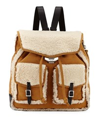 Rag And Bone Field Shearling Suede Backpack Brown