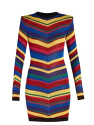 Balmain Chevron Striped Knitted Mini Dress Multi