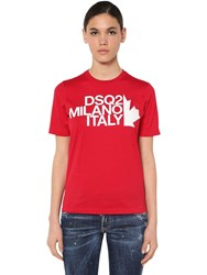 Dsquared Renny Fit Cotton Jersey T Shirt Red