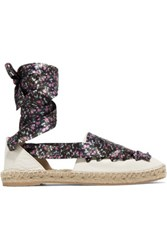 Iris And Ink Floral Print Lace Up Textured Leather Espadrilles Off White