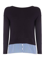 Marella Camelot Striped Longsleeve Top With Shirt Hem Navy
