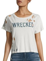 Mother Goodie Goodie Distressed Cropped Cotton Tee Dirty White