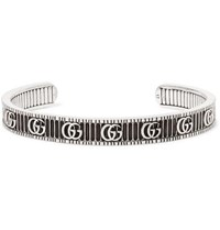 Gucci Logo Embossed Sterling Silver Cuff Silver