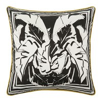 Roberto Cavalli Foglie Kaft Silk Bed Cushion Black Black And White