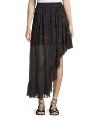Iro Jonel Printed Asymmetric Chiffon Skirt Black