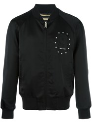 Marc Jacobs 9 Embroidered Patch Bomber Jacket Black