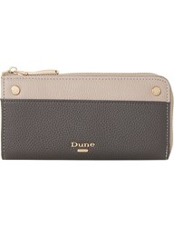 Dune Slim Zip Around Faux Leather Purse Grey Plain Synthetic