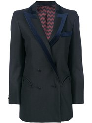Blaze Milano Velvet Trim Blazer Cotton Cupro Viscose Wool Black