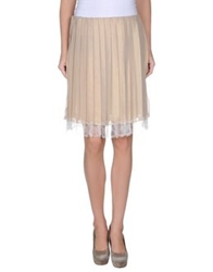 Gold Case Knee Length Skirts Beige