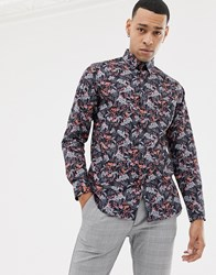 Ted Baker Shirt With Floral Print Navy