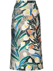 Rochas Embellished Printed Skirt Women Silk Polyester 36