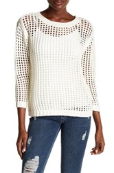 1.State Long Sleeve Chunky Pointelle Sweater White