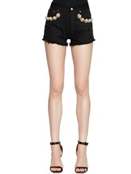 Forte Couture California Embellished Denim Shorts Black