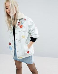 Asos Denim Hand Painted Jacket In Bleach Blue With Detachable Borg Collar Blue