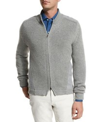 Loro Piana Baby Cashmere Jersey Bomber Cardigan Flannel Melange