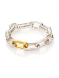 Gurhan Hoopla 24K Yellow Gold And Sterling Silver Geometric Link Bracelet Silver Gold