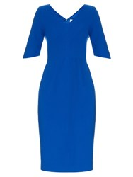Goat Carmen V Neck Wool Crepe Dress Blue