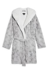 Topshop Squiggle Faux Fur Fluffy Robe Grey Multi