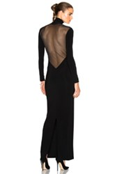 Norma Kamali Low Back Mesh Dress In Black