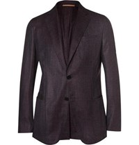 Berluti Aubergine Slim Fit Wool Silk Linen And Cashmere Blend Blazer Dark Purple