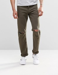 Asos Stretch Slim Jeans In Khaki With Knee Rips Forest Night Green