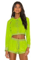 Luli Fama Cut Out Cropped Hoodie In Yellow. Neon Yellow