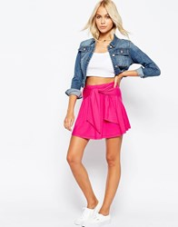 Asos Skater Skirt In Jersey With Tie Knot Waist Detail Pink