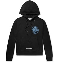 Off White Printed Fleece Back Cotton Jersey Hoodie Black