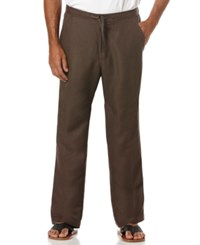 Cubavera Solid Linen Blend Drawstring 32 Length Pants Chocolate