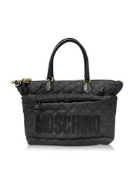 Moschino Black Nylon Quilted Tote