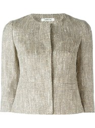 Lardini Woven Cropped Jacket Nude And Neutrals