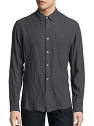 Billy Reid Wrinkled Long Sleeve Shirt Charcoal