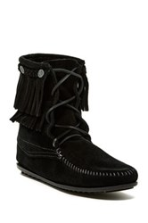 Minnetonka Tramper Double Fringe Suede Moccasin Boot Black