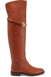 Valentino Buckled Leather Boots Brown