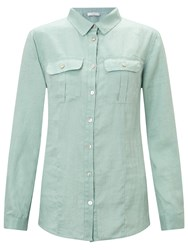 John Lewis Linen Safari Shirt Sea Green