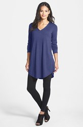 Women's Eileen Fisher Lightweight Merino Jersey V Neck Tunic Iris