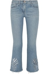 3X1 Freja Cropped Cutout High Rise Bootcut Jeans Light Denim