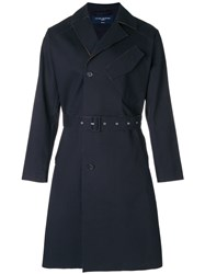 Natural Selection Double Breasted Trench Coat Blue