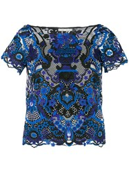 Alice Olivia Floral Embroidered Blouse Blue
